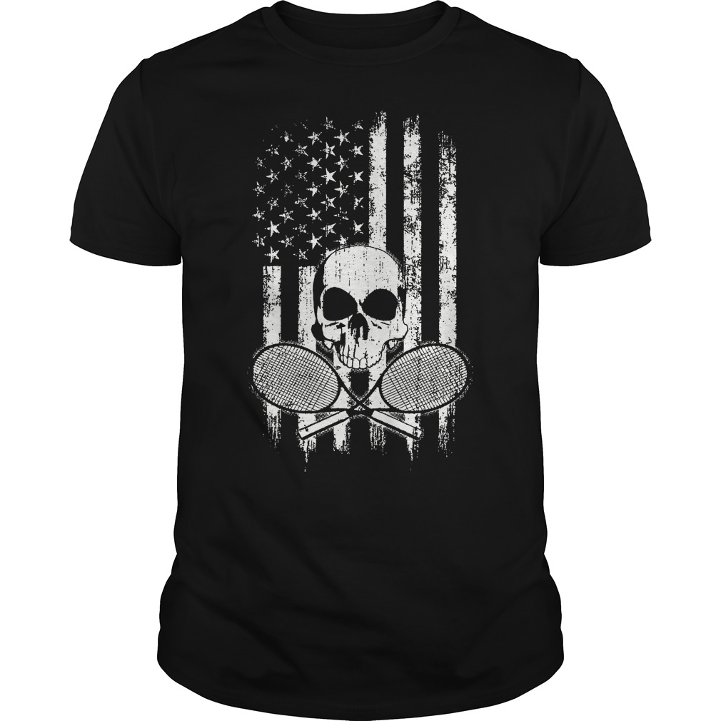 American Flag Skull and Rackets guy shirt
