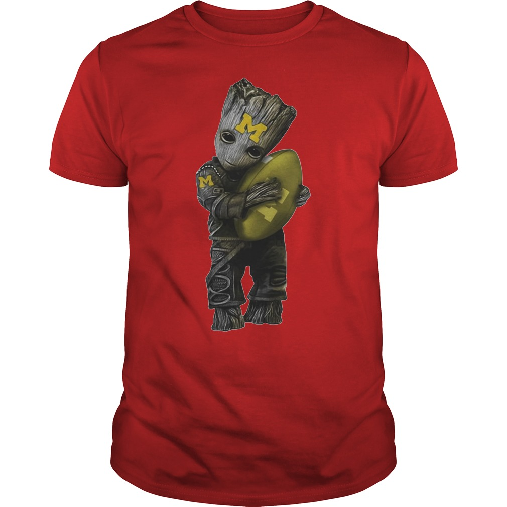Baby Groot hug Michigan Wolverines shirt