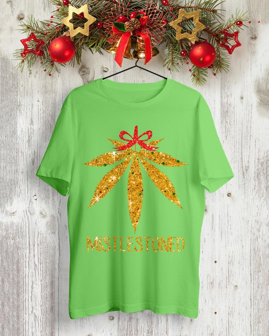 Mistlestoned Golden Glitters Smoking Weed Christmas shirt