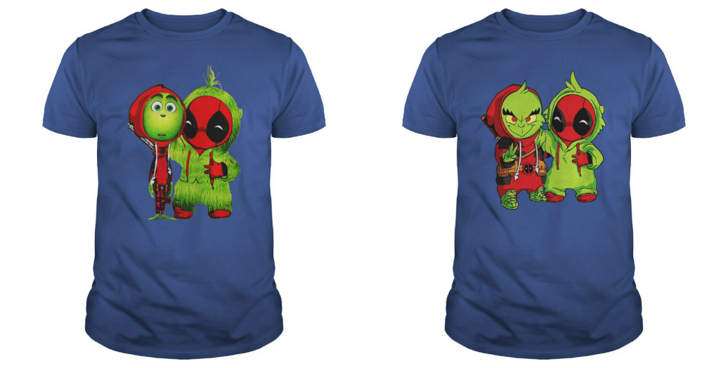 Baby Grinch and Deadpool shirt
