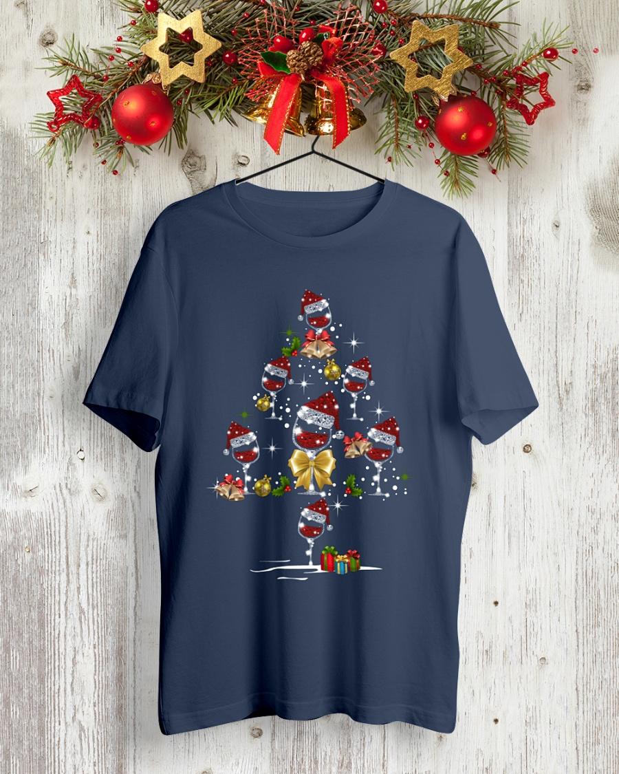 Wine Glass Red Santa Hat Christmas Tree Diamond Glitter shirt