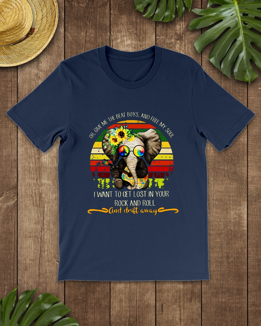 Hippie Sunflower Elephant Oh Give Me The Beat and Free My Soul shirt