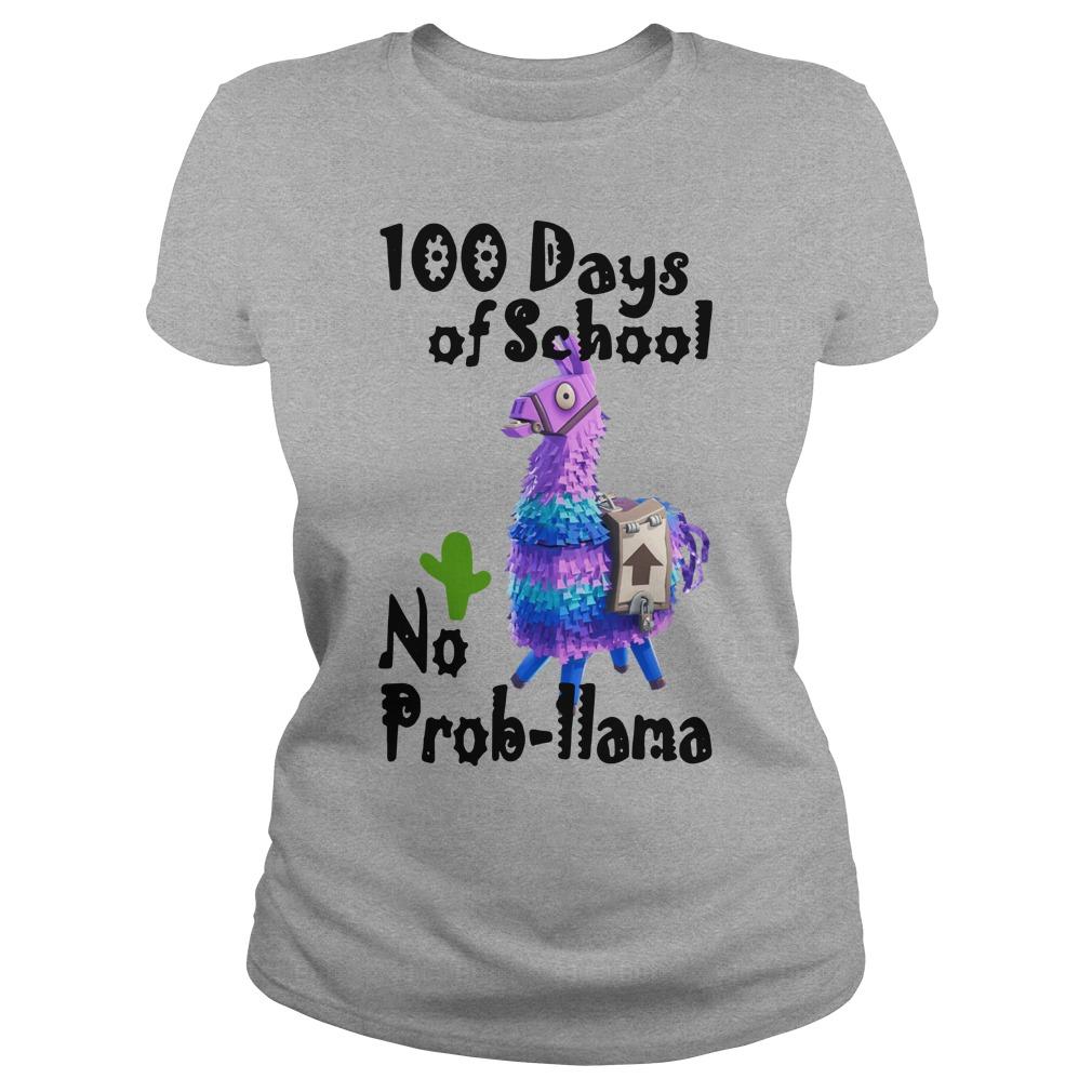 Fortnite Llama 100 Days Of School No Prob Llama Shirt