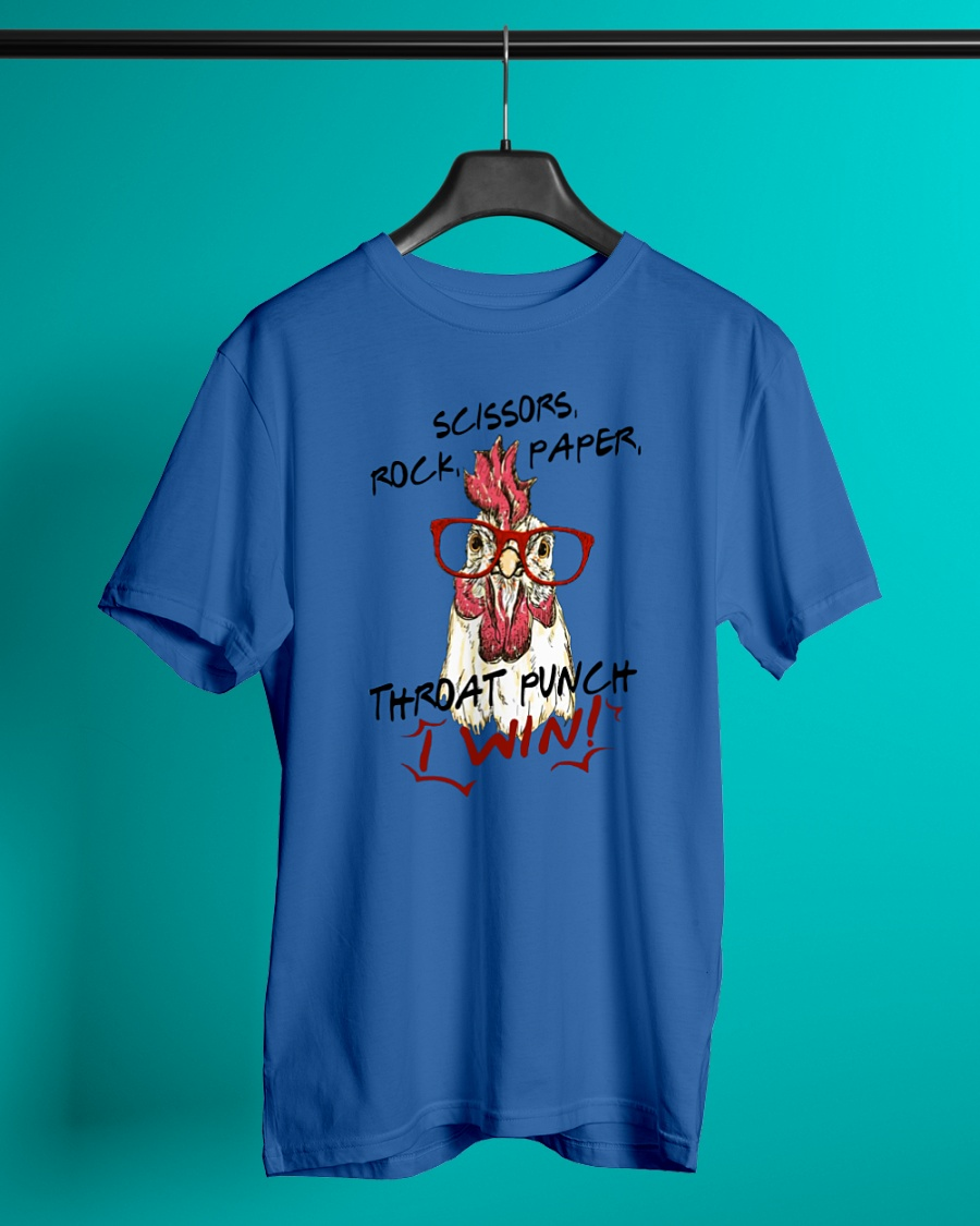Rooster Chicken glasses Scissors rock paper throat punch I win shirt