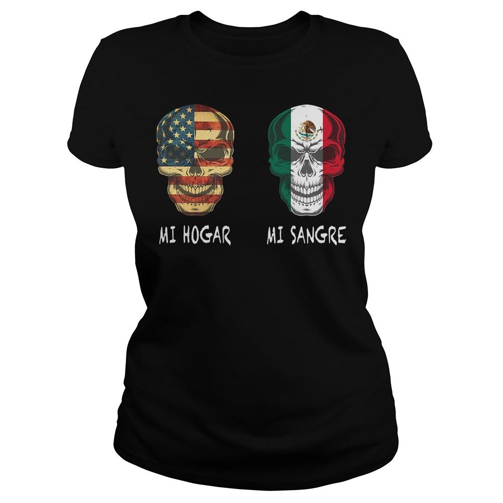 Mi Hogar America Skull Mi Sangre Mexico Skull Shirt