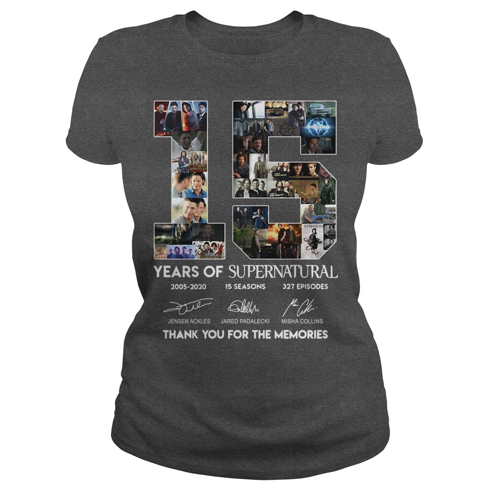 15 Years of Supernatural all signature thank you for the memories shirt15 Years of Supernatural all signature thank you for the memories shirt