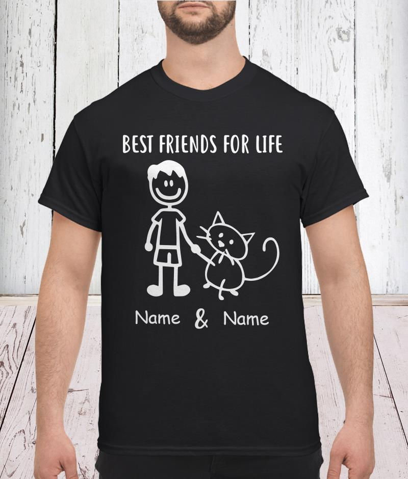 Best friends for life name and name cat shirt