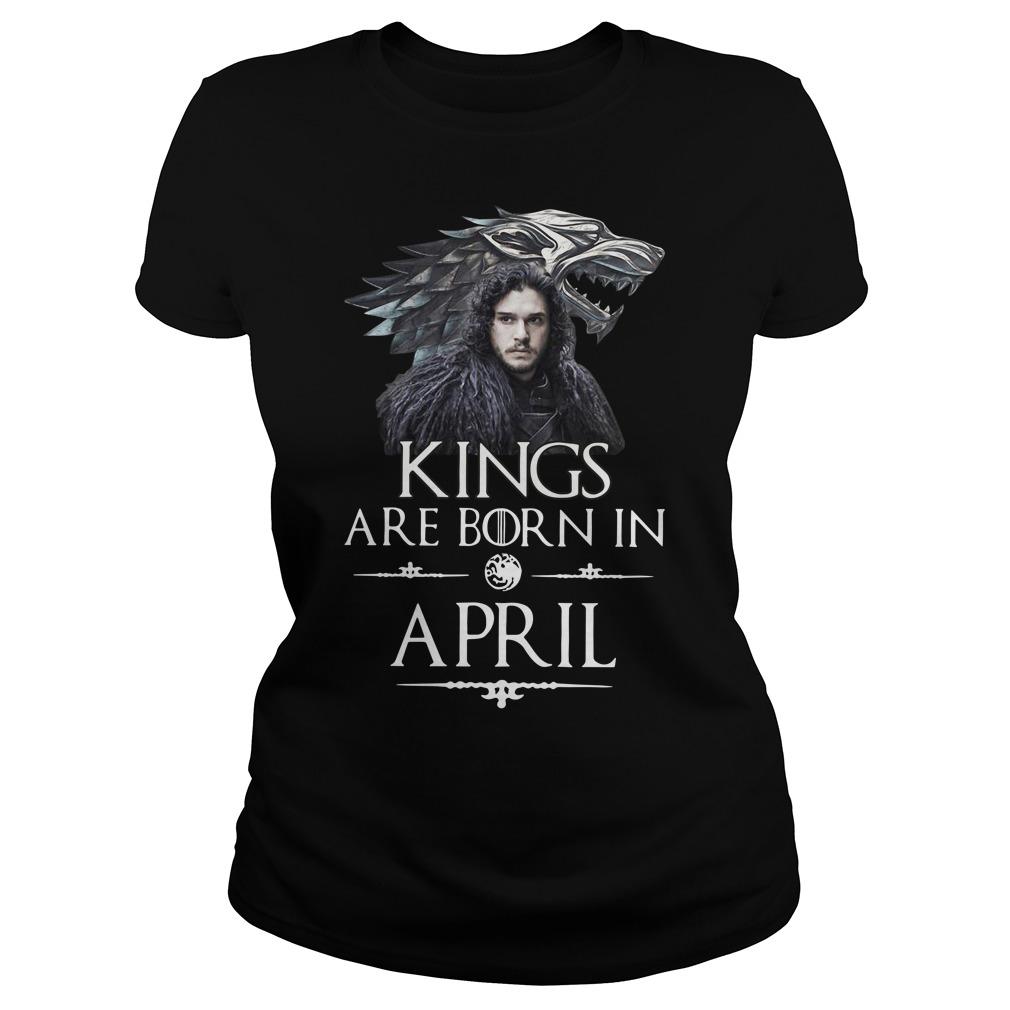 Stark Direwolf Jon Snow Game Of Thrones Kings Are Born In April Shirt
