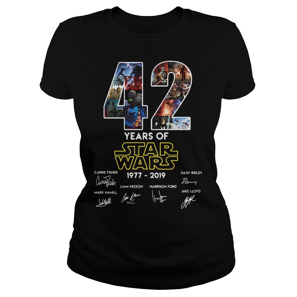 42 Years Of Star Wars 1977 2019 Signature Shirt