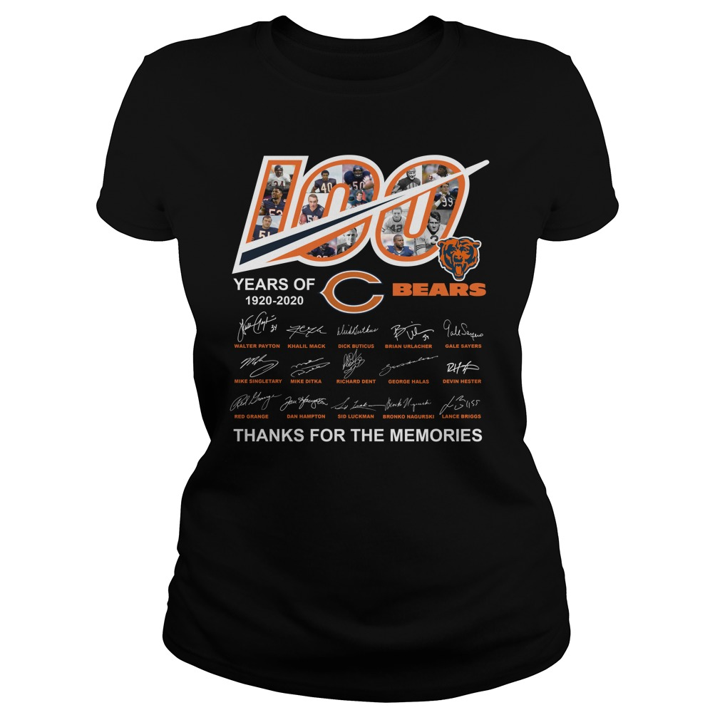 100 Years Of Chicago Bears 1920 2020 Thanks For The MemoriesShirt