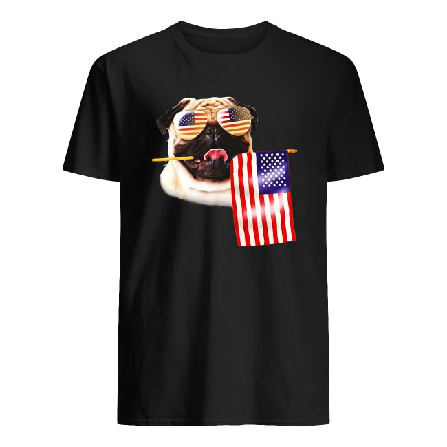 4TH OF JULY AMERICAN FLAG PUG LOVERS SHIRT