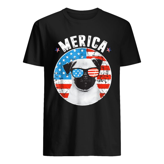 PUG 4TH OF JULY MERICA USA AMERICAN FLAG SHIRT