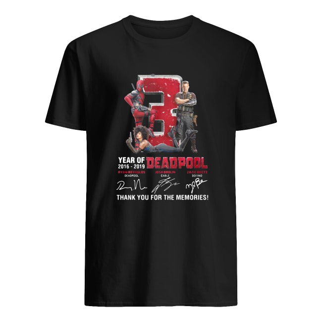 3 YEAR OF 2016-2019 DEADPOOL THANK YOU FOR THE MEMORIES SIGNATURE SHIRT
