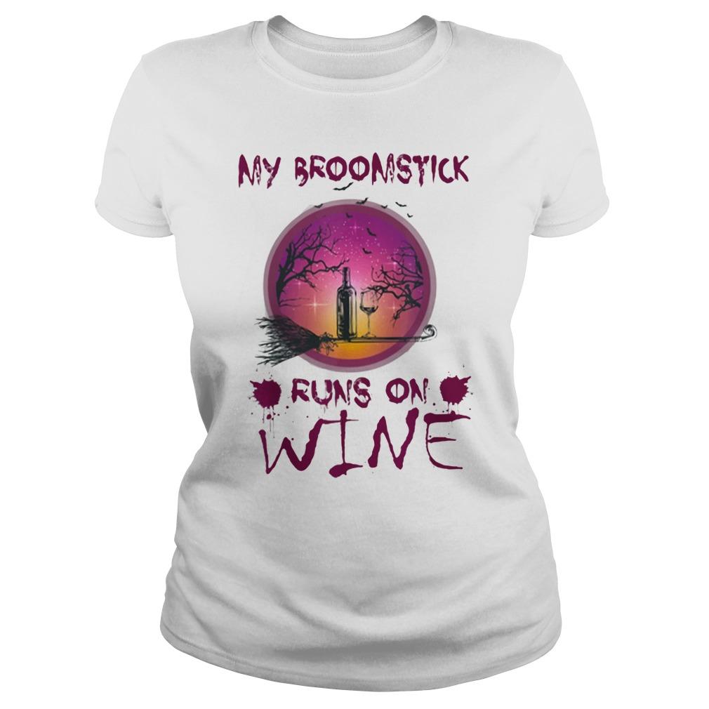 Halloween My Broomstick Runs On WineShirt