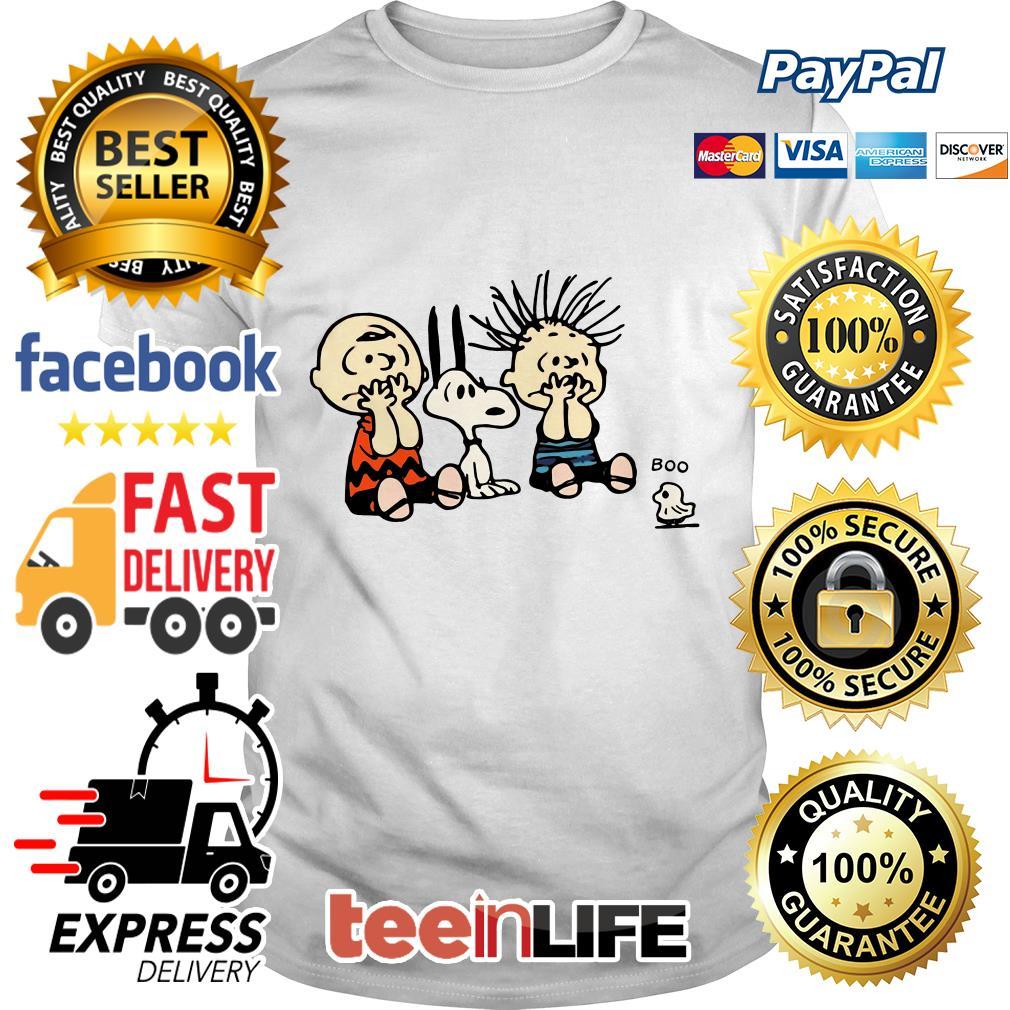 Halloween Boo Snoopy Charlie Brown and Linus Van Pelt Frightened of ghost shirt